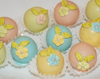 Cake Pops, Bom Boms, Easter Cake Pops, Easter Treats, Party Favors, Quinceanera, Bridal Shower, Baby Shower