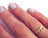 Gold stacking ring, Feather ring, 14k gold filled stacking ring, rustic hammered band