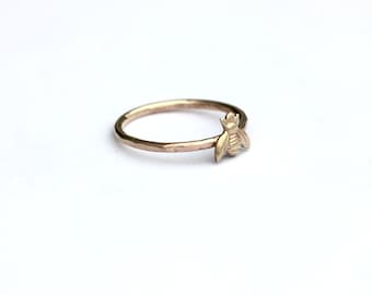 Gold stacking ring, Bee ring, 14k gold fill stacking ring, rustic hammered band
