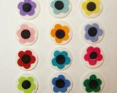 Felt Flowers on White Bases- 48 pre-cut wool felt blend pieces- #0034