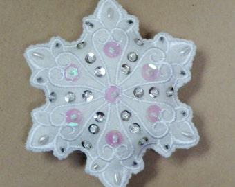 Snowflake, Wool Felt Ornament, Sequins, Beads, Stuffed-Choose ONE