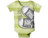 Baby Boy Bodysuit, Personalized, Grey Sneakers, Infant One Piece, Custom Onepiece Boys Clothing