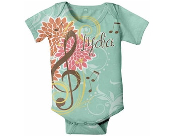 Music Baby Bodysuit, Personalized Treble Clef Infant Creeper, Custom ONe-Piece