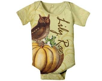 Pumpkin Owl Bodysuit, Personalized Baby Girl Romper, Custom Fall One-Piece