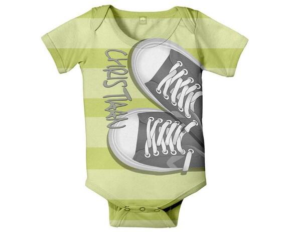Baby Boy Bodysuit, Personalized, Grey Sneakers, Infant One Piece, Custom Onepiece Boys Clothing