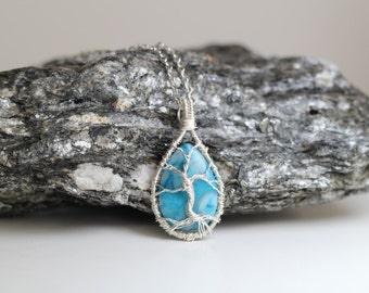 603A OOAK Silver Wire Wrapped Tree of Life Tree Sculpture on turquoise blue tear drop crazy lace 30x20mmCabochon,  Man, Women,Teen
