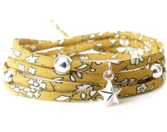 Liberty fabric bracelet in mustard, wrap bracelet with beads, wedding favour gift idea, 925 Sterling silver beads and star charm