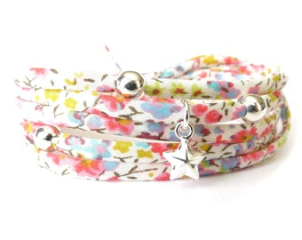 Spring colored Liberty fabric bracelet, pretty pastel florals, wrap bracelet with 925 Sterling silver charms, gift idea for bridesmaids