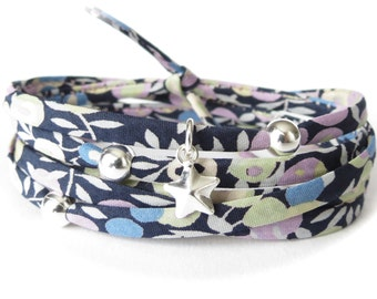 Blue wrap bracelet with silver star charm, spaghetti cord bracelet with Liberty fabric with floral print in blue, sage and lilac