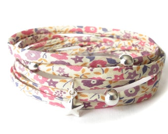 Liberty fabric wrap bracelet in beige, pink & purple florals, birthday gift for best friend, Sterling silver beads and star charm