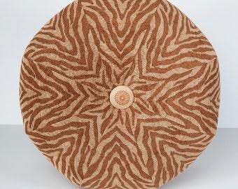 Dorm Room Decor- Zebra Ottoman- Pouf Ottoman- Footstool- Floor Ottoman- Terra Cotta and Tan- by beckyzimmdesign