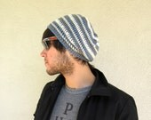 Mens Striped Slouchy Hipster Crochet Hat Slouch Beenie Beanie Winter Gifts For Guys Fathers Day
