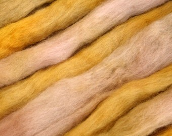 Hand-dyed NZ Halfbred 27.7 micron combed wool roving - 50gr Tutti Frutti/50gr Butter over Light Grey