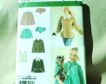 2006 Uncut Simplicity Pattern 3958 Misses Jacket, Capelets in Two Lengths, Lined Vest and Dog Coat   Size  14-16, 18-20, 22-24