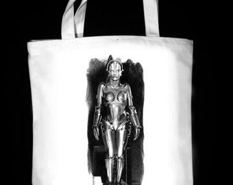 "Maria. The robot from the 1927 movie Metropolis 13"" x 13"" Canvas tote bag - Original Graphite Portrait"
