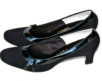 NOS 60s Black Suede Patent Leather Heels Pumps 1960s Fall Fashion Winter Fashion Career Evening Dress Up Betty Draper Mad Men
