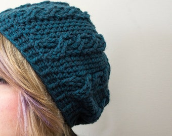 CUSTOM Crochet Cable Stitch Slouchy Hat Warm Winter Tam Crochet Beanie Crochet Hat Gifts for Her Stocking stuffer