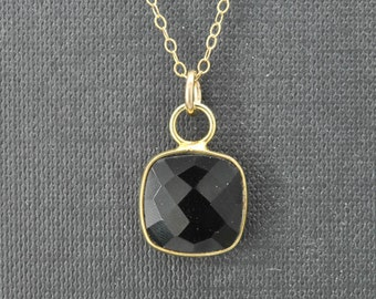 Black Onyx Necklace, 14k Gold Filled Chain, Bezel set Necklace, Gemstone Necklace, Black Onyx pendant