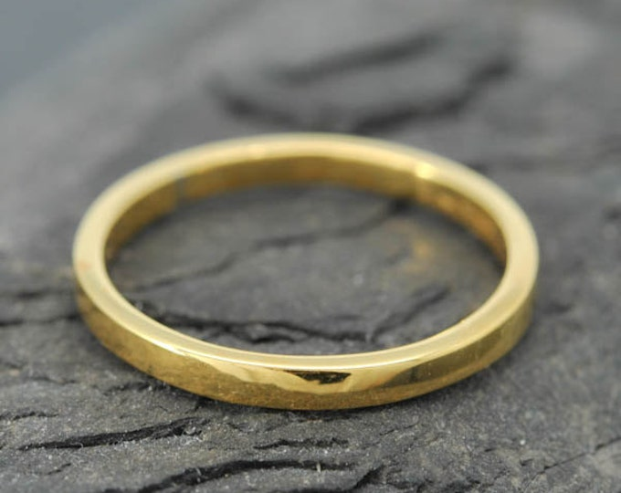 18k Yellow Gold, 1.5mm x 1.5mm, Wedding Band, Square Band, Stacking Ring, Flat Band, Size up to 6