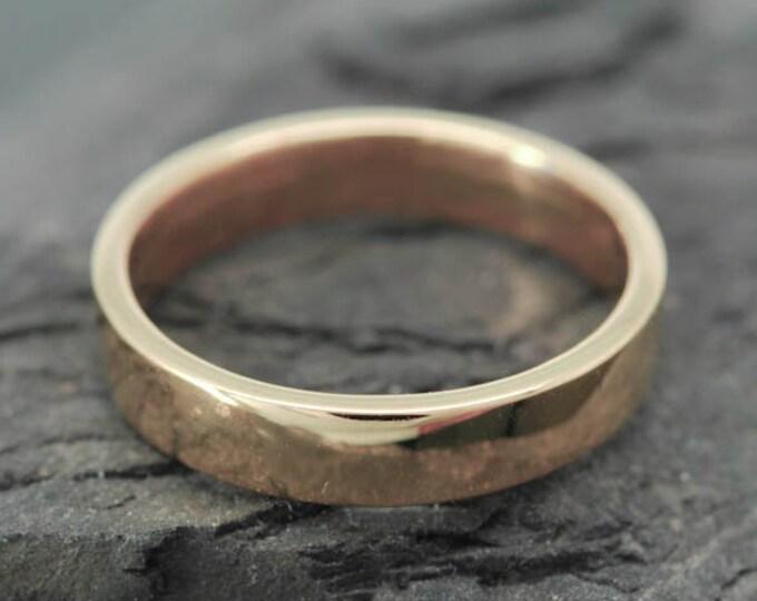 14K Rose Gold Ring, 4mm x 1mm, Wedding Band, Wedding Ring, Rose Gold Band, Flat Band, Square Band, Size up to 5.75