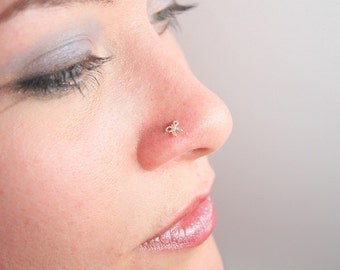 Teeny Bow Nose Stud in Sterling Silver