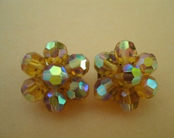 Vintage 1960s Amber Color Faceted Crystal Bead Earrings - Aurora Borealis Clip Earrings
