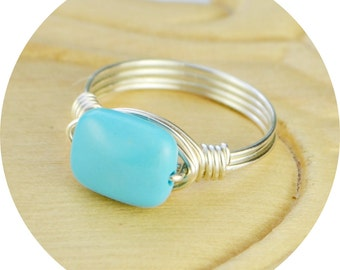Wire Wrapped Ring- Sterling Silver Filled Wire with Tiny Turquoise Colored Rectangle Gemstone - Size 4, 5, 6, 7, 8, 9, 10, 11, 12, 13, 14
