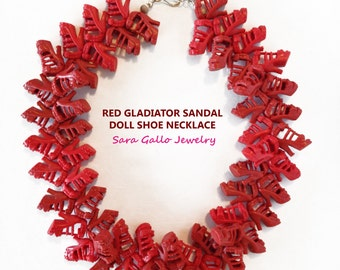 Red Gladiator Sandal Doll Shoe Necklace(c) by Sara Gallo