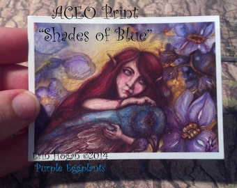 Fairy embracing blue bird watercolor and ink ACEO professional print