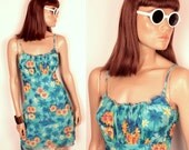 25% OFF SALE // tropical print mesh dress // palm trees and daisies