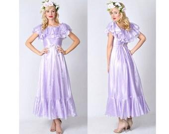 Vintage 70s Purple Maxi Dress Full Boho Hippie Ruffle Tiered XS 0431
