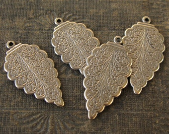 Brass Ornately Textured Leaf Shape Pendants Oxidized Finish 32x16mm (4)