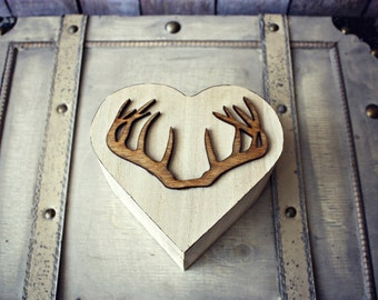 Deer-hunting-personalized-wedding-ring-holder-box-pillow-camouflage-hunter-rustic-bride-groom-Mr and Mrs-buck-doe-cake topper-heart-wood box