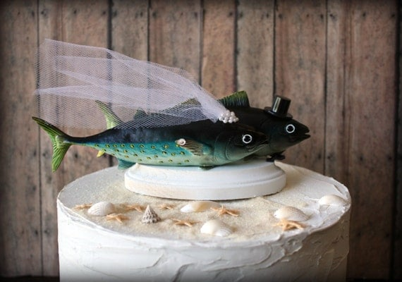 Tuna fish wedding cake topper groom 39 s for Fishing cake toppers