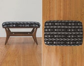 HS Collection Mid Century Black and White Ikat Bench Ottoman