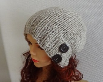 Hand Knit  Hat beret women knit hat slouch women Slouchy Beanie color  oatmeal Chunky Knit Winter Fall Accessories Slouchy Knitted