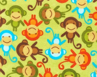 "End of Bolt - FLANNEL - Monkeys on Green from Robert Kaufman's Urban Zoologie - 24"" x 44"""