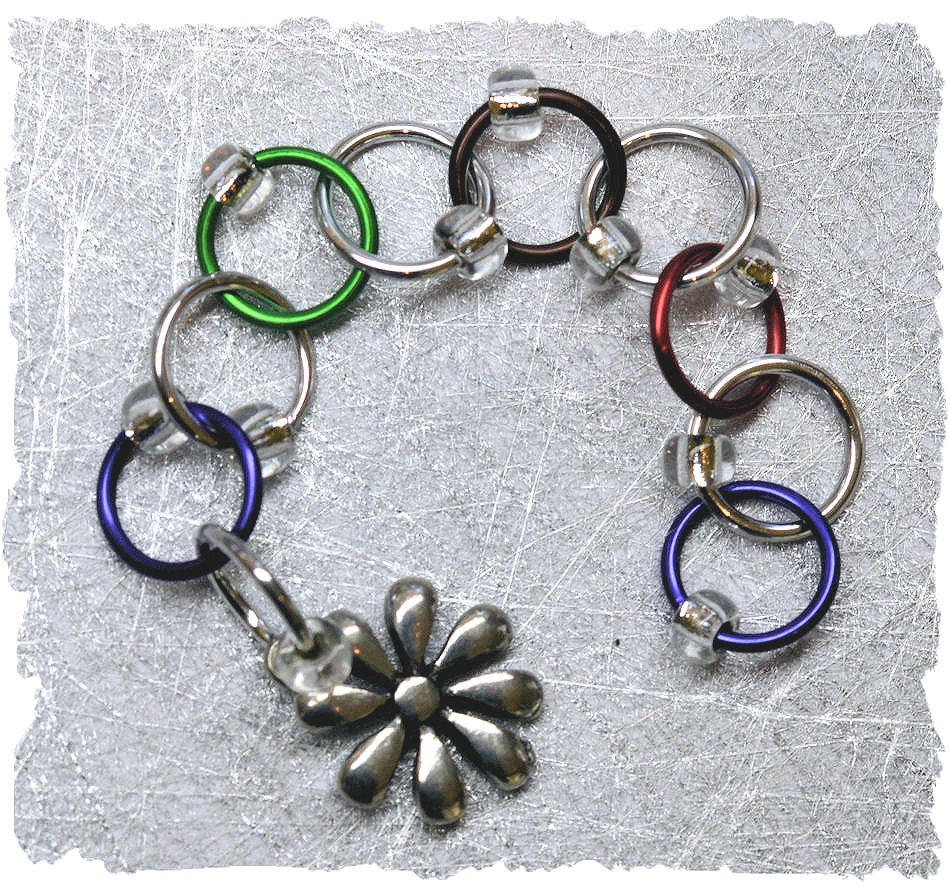 Knitting Counter Ring : Row counter chain style multi colored rings knitting