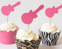 Rockstar Themed Party Pink Guitar Cupcake Toppers Girls Rock Star Rocker Glam Cupcake Toppers Animal Print Tween Birthday Party / Set of 12