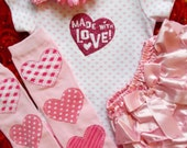 Valentines Day baby girl onesie outfit pink heart legwarmers first coming home shower dress up satin bloomer bow bodysuit  3 6 9 12 18 m