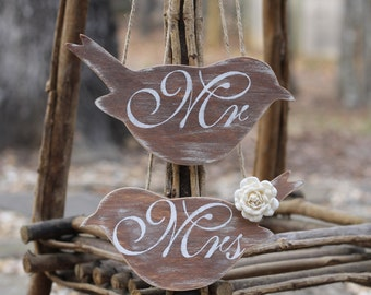Love Bird Chair Signs Mr and Mrs Rustic Shabby Chic Weddings