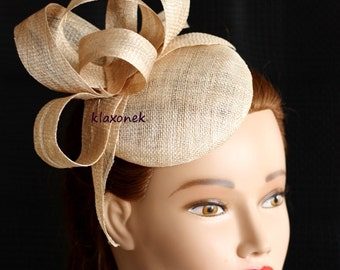 ivory wedding fascinator, kentucky derby hat, coctail hat, ivory wedding headpiece, ivory fashion hat