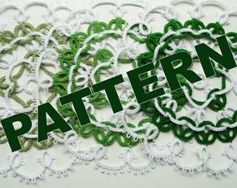 """Tatting pattern doily """"Green Apple"""" - PDF pattern - shuttle tatting - needle tatting."""