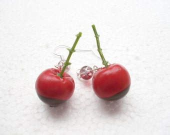 Chocolate Dipped Cherry Earrings. Polymer clay.