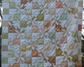 ON SALE Dandelion Girl 60x60 quilt - Fig Tree for Moda - vintage feel Hunter's star - Cascade Quilts