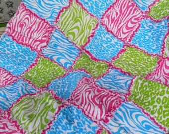 Bright Animal Print Rag Quilt