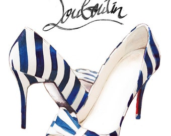 Striped Christian Louboutin Watercolour Illustration giclée Print