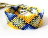 Blue and Yellow Macrame Friendship Bracelet - Complex Design