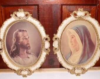 Vintage Madonna and Jesus Chalkware Wall Hangings