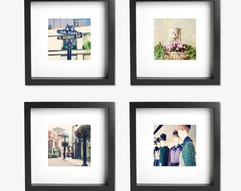 Travel Photograph Set - Set of 4 vintage style photo prints, California Beverly Hills Sign, Boutique, Rodeo Drive, Beverly Hills Hotel